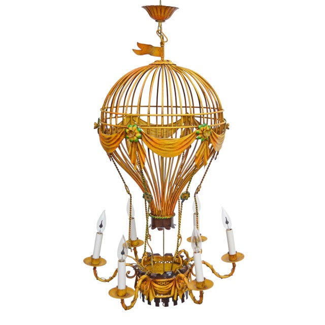 Vintage Italian Tole Hot Air Balloon Chandelier For Sale