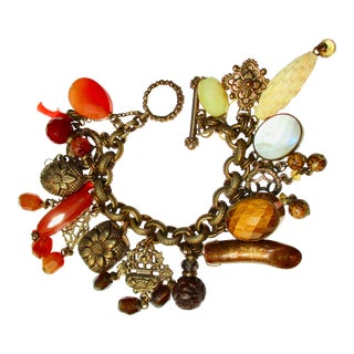 Stephen Dweck Jewelry Charm Bracelet With Various and Multiple Stones For Sale