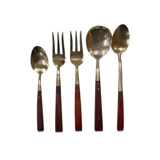 Vintage Brass and Rosewood Boxed Flatware Set Service 144 Pieces For Sale