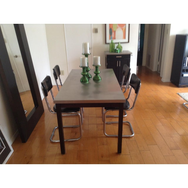 ZGallerie Metal Top Dining Table & Cantilever Chairs Dining Set - Image 5 of 8