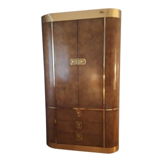 Hollywood Regency Lacquered Burl Armoire With Patinated Brass For Sale