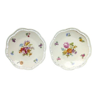 Vintage 1930's Schumann Bavaria -Porcelain Flowers Bread Plates - a Pair For Sale