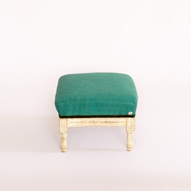 19th Century Antique French Emerald and White Patina Footstool For Sale - Image 12 of 12