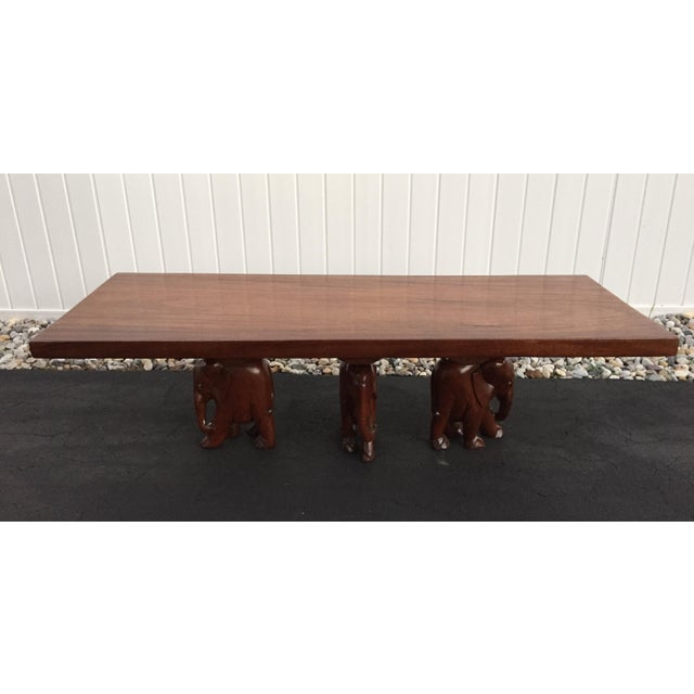 Vintage Carved Walnut Elephant Coffee Table - Image 3 of 9