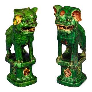 Antique 19th C. Sancai Green Foo Dog Joss Stick Holders For Sale