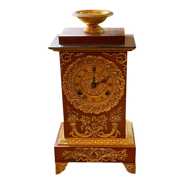 19th Century French Empire Ormolu Style Clock For Sale