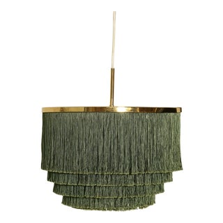 Hans-Agne Jakobsson Green and Brass Fringe Ceiling / Pendant Lamp, Sweden, 1960s For Sale