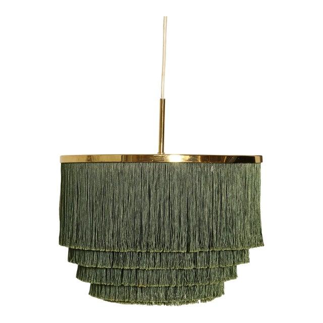 Hans-Agne Jakobsson Green and Brass Fringe Ceiling / Pendant Lamp, Sweden, 1960s For Sale