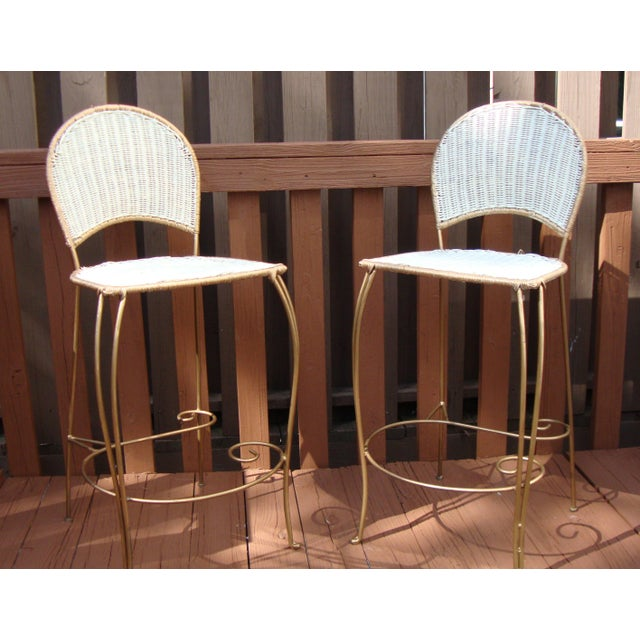 Gilt Wicker Wrought Iron Bar Stools - A Pair - Image 7 of 11