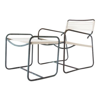 Single Walter Lamb Patio Lounge Chair and Ottoman Set - Seven Available