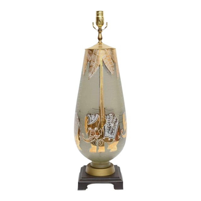Mid Century Modern Glass and Gold Table Lamp W. Elephants Under Palms. 1950s For Sale