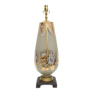 Modern & Playful Table Lamp in the Style of Waylande Gregory Gilt Elephants Glass