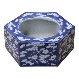 Chinese Blue & White Porcelain Blossom Graphic Hexagon Bowl Container