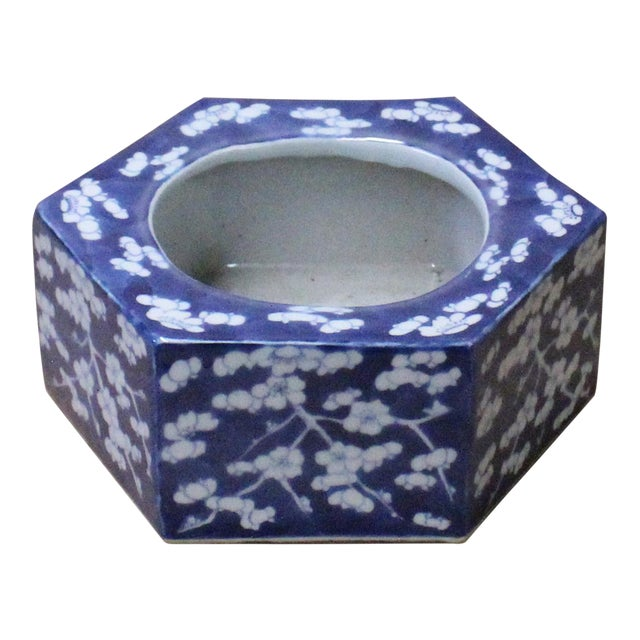 Chinese Blue & White Porcelain Blossom Graphic Hexagon Bowl Container For Sale