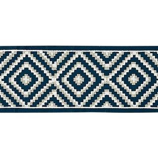 Sample, Scalamandre Medina Embroidered Tape, Indigo For Sale