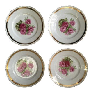 Scallop Edged Rose Plates - Set of 4