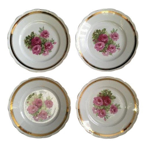 Scallop Edged Rose Plates - Set of 4 For Sale