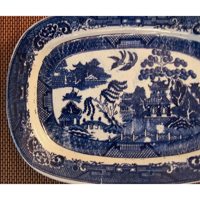 Antique Blue Willow Platter - Image 3 of 4