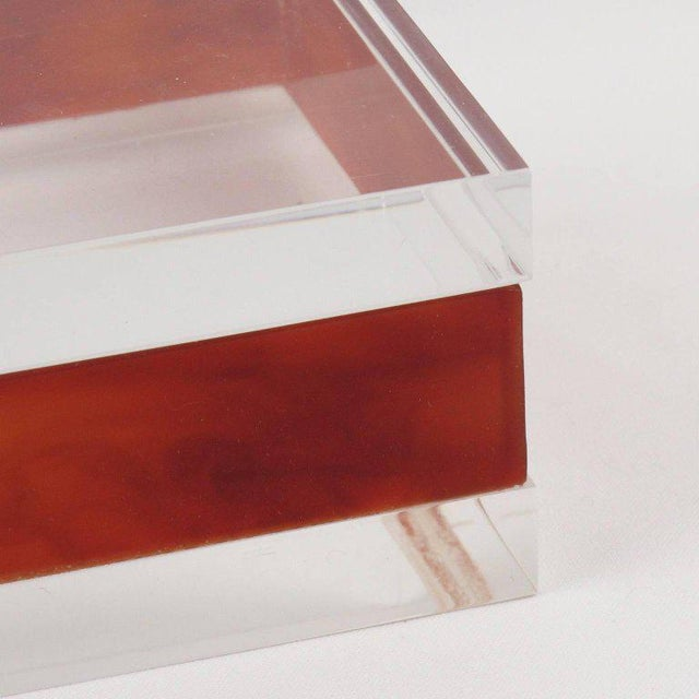 French Mid-Century Modern Rectangular Lucite Box - Image 5 of 8