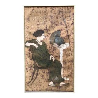 "Mid Century Wall Art Painting Batik Large Decorative Panel ""Minerva"""
