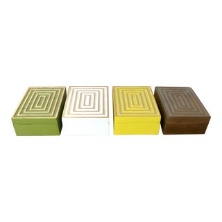 Les Hunter 50s Cast Metal Boxes - Set of 4 For Sale