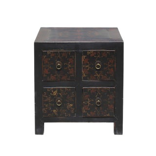Oriental Distressed Black Golden Flower 4 Drawers End Table Nightstand For Sale