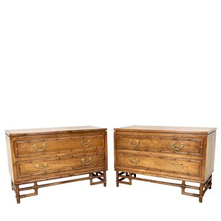 Pair of Faux Bamboo Ficks Reed Nightstands For Sale
