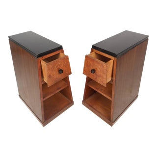 Art Deco Style Pyramid Shaped Walnut & Burl Nightstands - A Pair For Sale