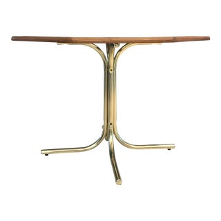 20th Century Hollywood Regency Tubular Brass Pedestal Octagonal Smoked Glass Dining Table For Sale