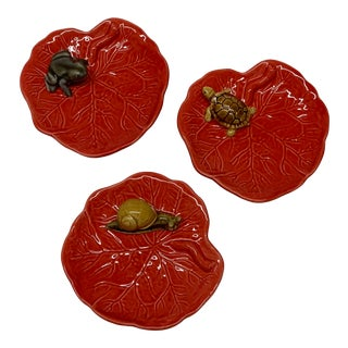 Portuguese Red Ceramic Leaf Dishes - Set of 3 For Sale