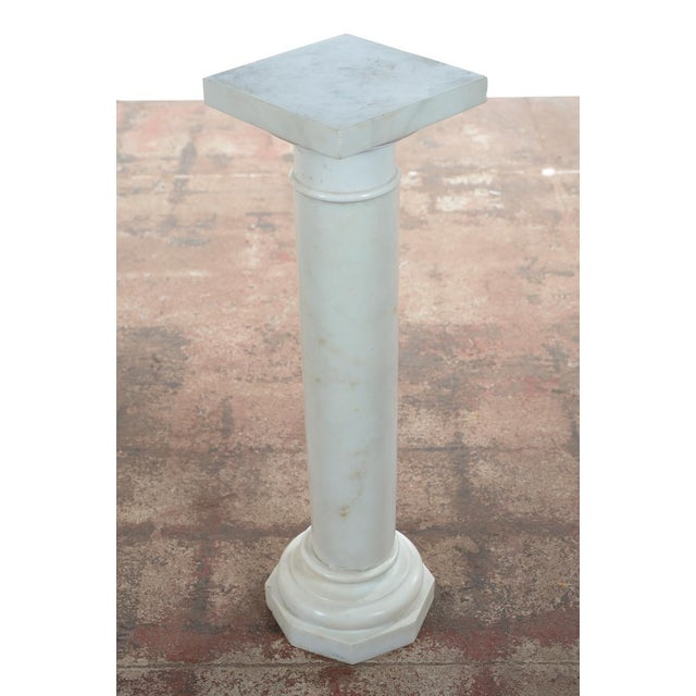 19th C. Italian Carrara Marble Carved Pillar Stand - Image 7 of 10