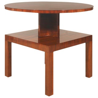 1930s Art Deco Cubist Side Table, walnut, marquetry - France For Sale