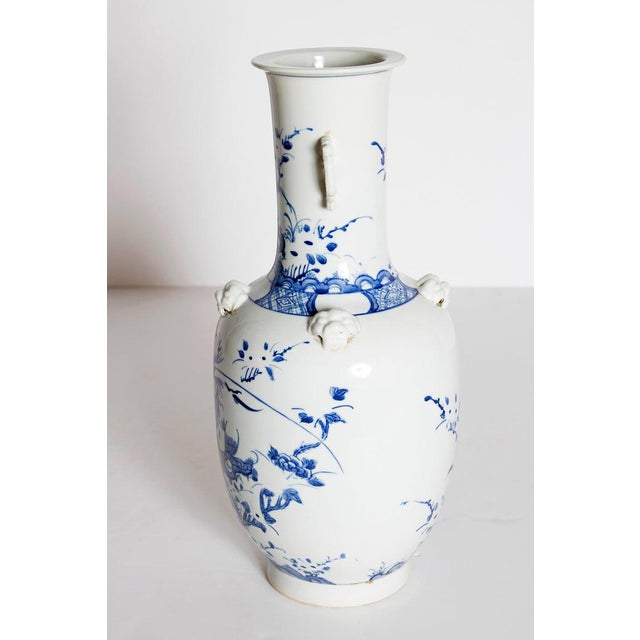 Asian 19th Century Chinese Blue and White Qing Period Vase With Foo Dog Heads For Sale - Image 3 of 13