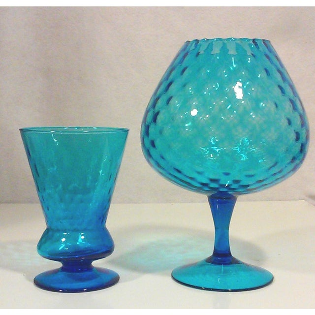 Italian Azure Blue Footed Vases - Pair - Image 8 of 8