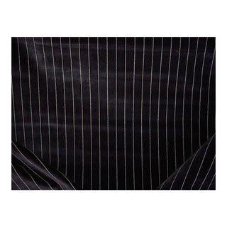 Jb Martin Jet Black Soft White Tuxedo Heavy Velvet Upholstery Fabric - 1-1/8y For Sale