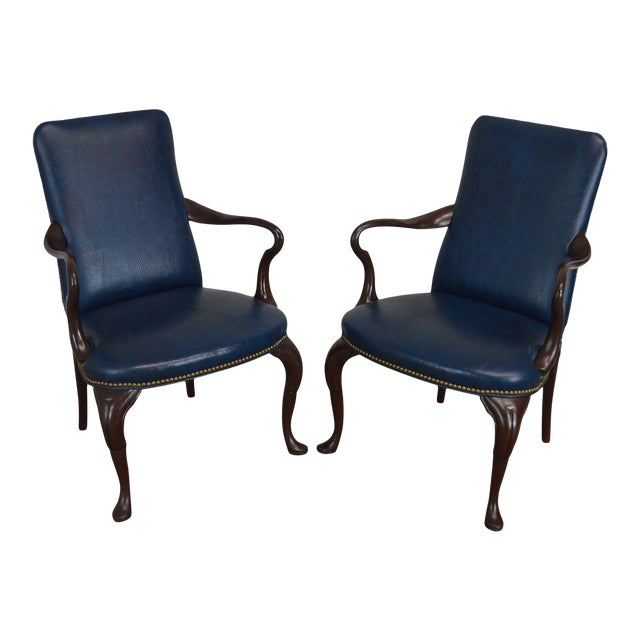 Queen Anne Style Vintage Custom Quality Mahogany Pair Shepherd's Crook Armchairs (C) For Sale