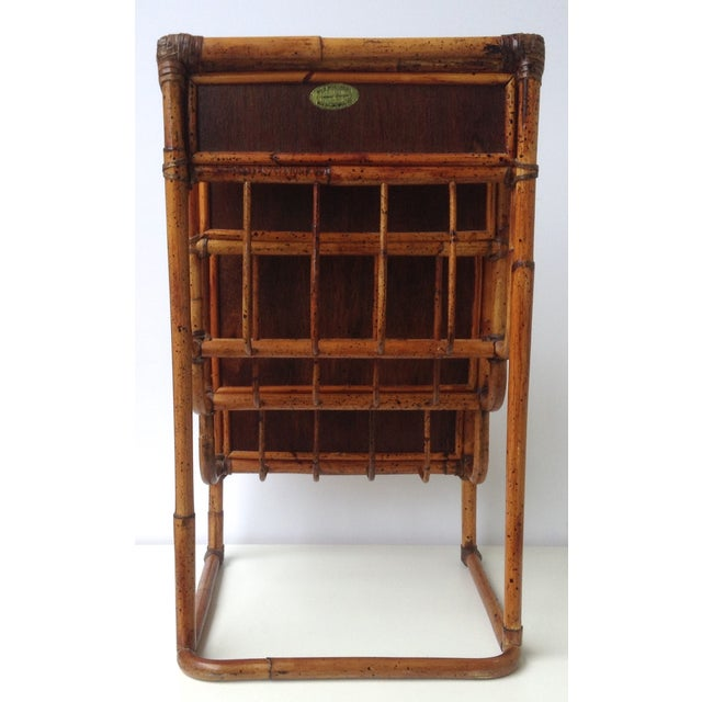 Vintage Bamboo Leather-Wrapped Magazine Stand - Image 5 of 11