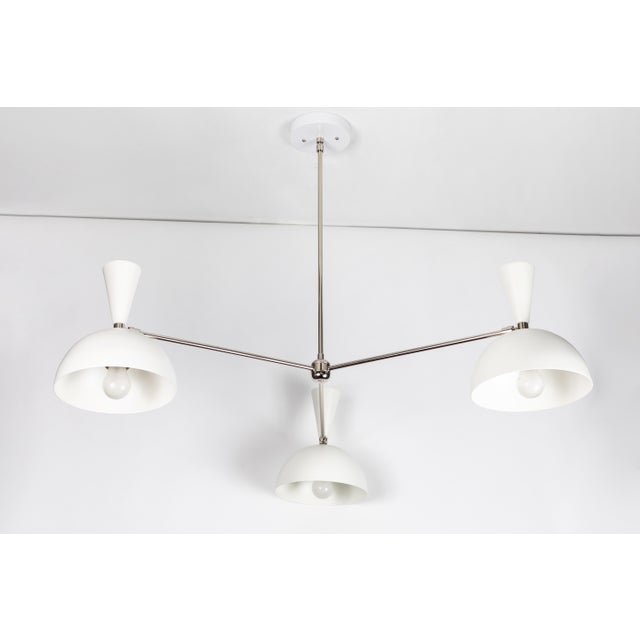 Mid-Century Modern Large Three-Cone 'Lola II' Chandelier in White and Chrome For Sale - Image 3 of 11