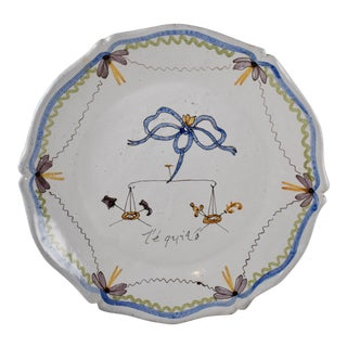 18th C. Nevers French Revolution Tin-Glazed Dish, L'équité For Sale
