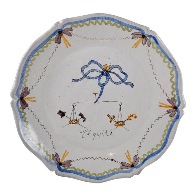 18th C. Nevers French Revolution Tin-Glazed Dish, L'équité For Sale