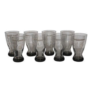 Late 20th Century Smoked Heavy Bottom Drinking Glasses - Set of 8 For Sale