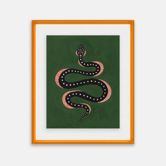 Willa Heart Apple the Snake by Willa Heart in Amber Orange Acrylic Shadowbox, Small Art Print For Sale - Image 4 of 4