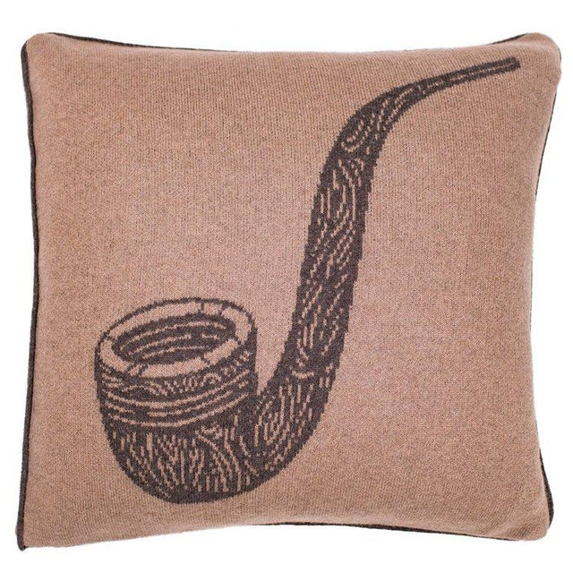 Contemporary Pipe Cashmere Pillow For Sale - Image 3 of 3