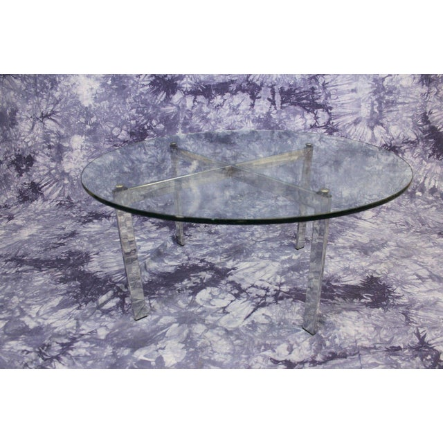 Barcelona Mid-Century Modern Round Glass Top Coffee Table - Image 7 of 7