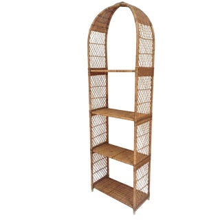 Vintage Rattan Domed Etagere Danny Ho Fong Style Shelf For Sale