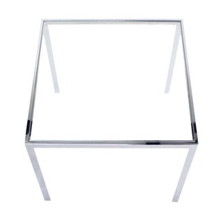 Square Cube Chrome and Glass Side Table For Sale