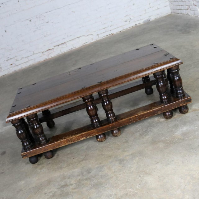 Incredible Spanish Revival style rectangular coffee table attributed to Artes De Mexico Internacionales, SA. It is in...