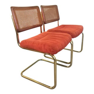 Vintage Cane Back Brass Cantilever Chairs - Set of 2 For Sale