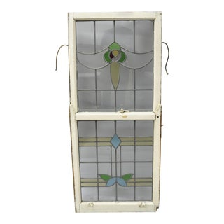 Antique Stained Glass Architectural Salvage Double Hung Window For Sale