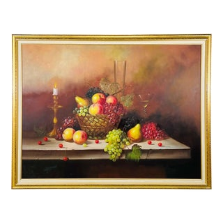 W.Jenkins Large Still Life Fruits Oil on Canvas Painting For Sale
